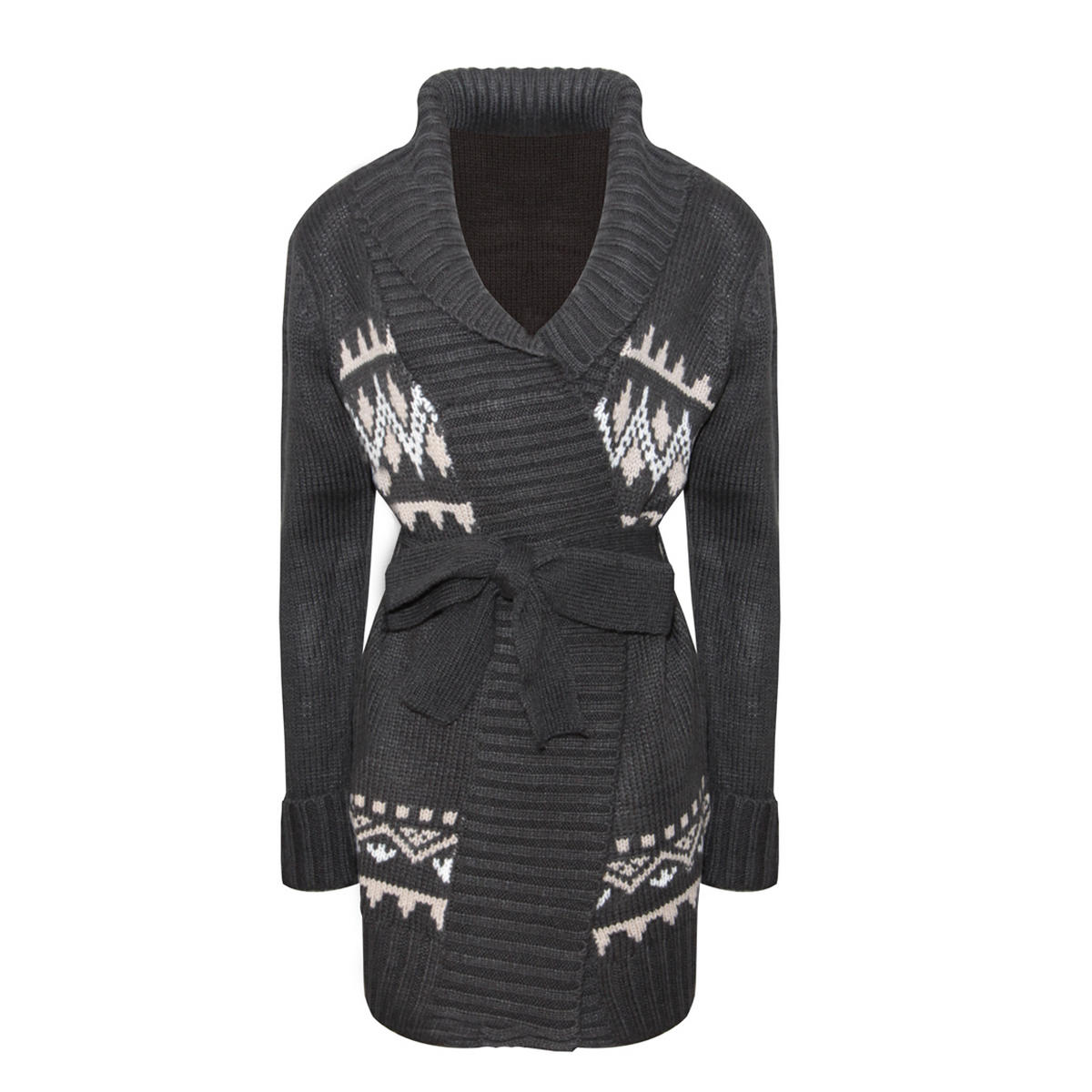 Black Alpine Print Chunky Knit Belted Cardigan Preview